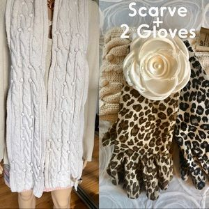 Accessories - Bundle of Scarve and two animal print gloves